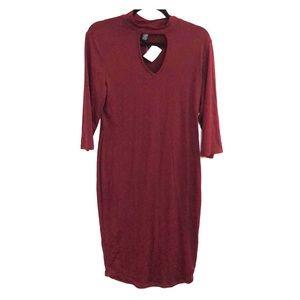 Bodycon dark maroon dress